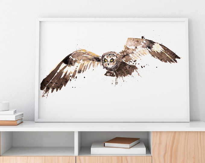 Barn Owl painting No.1 - Signed Limited Edition Print on watercolour paper of a Barn Owl - great grey owl wall art