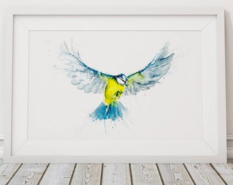 Blue Tit Print Wall Art Watercolour Painting Bird Abstract Modern Water Colour Painting Home Decor Limited Edition Blue Tit Birds Gift