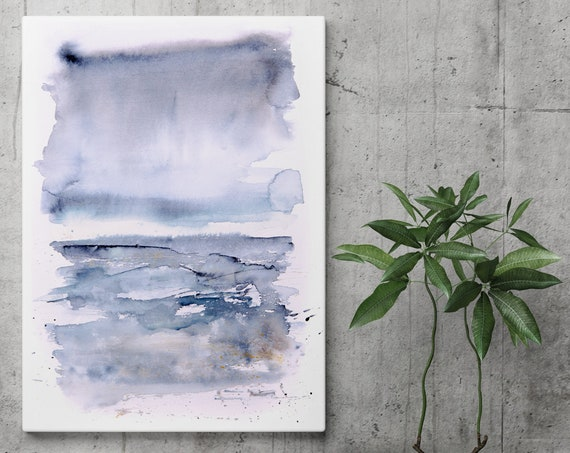 Abstract Landscape Canvas Watercolour Painting Wall Art Modern Blue Seascape Print Home Decor