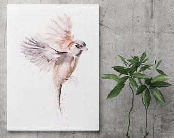 Sparrow on Canvas - Sparrow Painting - Modern Abstract Watercolour Art Print of my Watercolor Bird Painting Home Decor by Syman Kaye