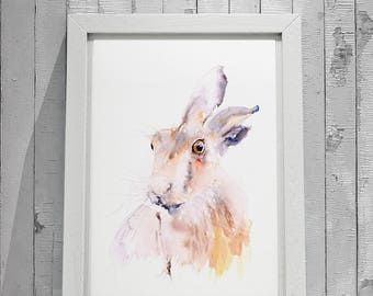 Hare Painting No.4 - Hand Signed Limited Edition Print from my Original Watercolour Painting of a Hare