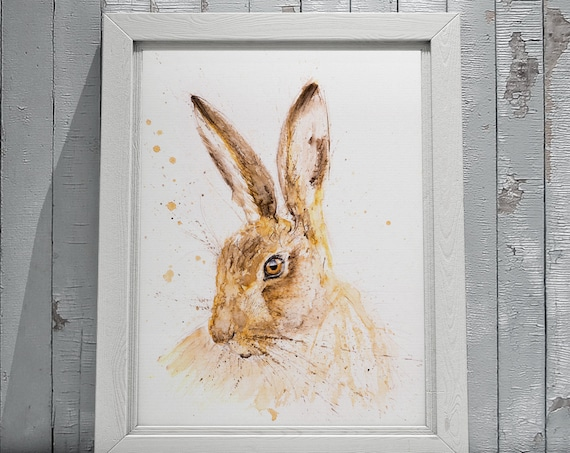 Hare Watercolour Painting Limited Edition Print Modern Abstract Watercolor Hare Wall Art Gift Decor