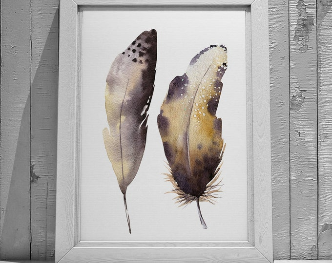 Feather Painting No.1 and No.2 Abstract Fine Art Print on Watercolour Paper - Fine Art Prints of Feather Watercolour Painting