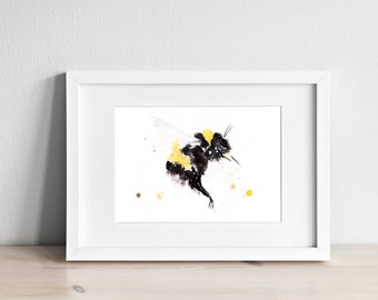 Bumble Bee Watercolor Watercolour Painting No.3 - Wall Art - Signed limited edition print of my original watercolor painting of a Bumble bee
