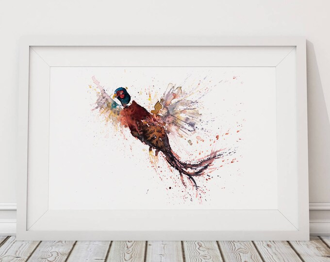 Pheasant Print Wall Art Watercolour Painting Wildlife Abstract Modern Pheasant Water Colour Painting Bird Wall Decor Limited Edition Print