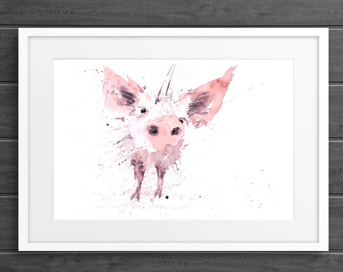 Pig Print Wall Art Watercolour Painting Farm Animal Abstract Modern Piglet Water Colour Painting Wall Decor Limited Edition Pig Print