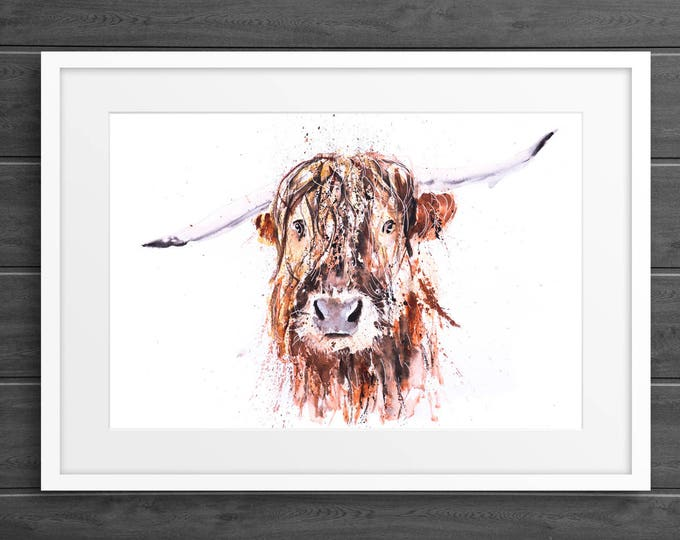 "Highland Cow Painting Watercolor Painting  ""Boris"" Wall Art Signed Limited Edition Print of my Original Highland Cattle Watercolour Painting"