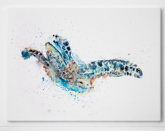 Turtle Canvas print - Hand signed by Syman Kaye Wall Art Turtle Watercolour Painting of my Original Abstract Art Turtle Painting Talulah