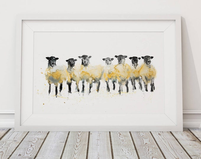 Sheep Painting Sheep Art - Hand Signed Limited Edition Sheep Print of my Original Sheep Watercolour Painting Sheep Wall Art