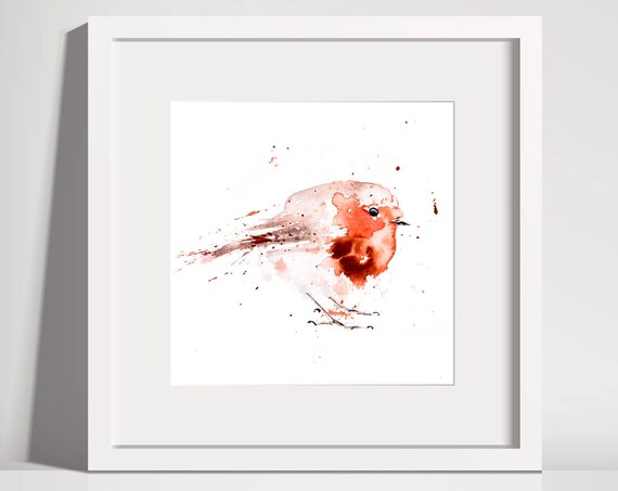 Fat Robin Red Breast No.1 - Hand Signed limited edition Print of my Original Watercolour Painting of a Robin -  Birds Wall Art Nursery Art