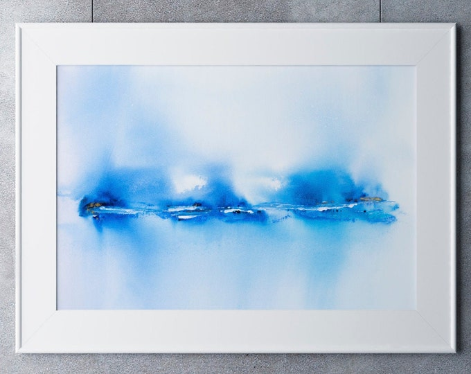 Abstract Seascape Landscape Print No6 - Abstract Painting - Hand Signed Numbered Embossed Limited Edition Print Modern Watercolour