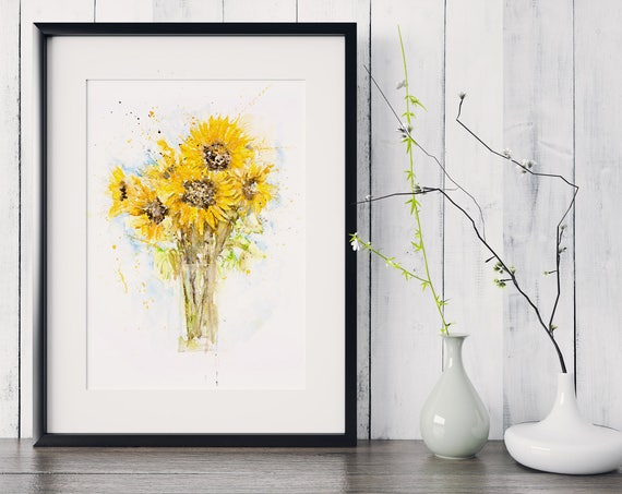 Sunflower Bunch - Signed limited Edition Print of my Original Watercolour Painting