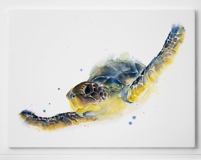 Sea Turtle Canvas Print Abstract Watercolour Painting Watercolour Wall Art Modern Painting Turtle Canvas Home Decor Print on Canvas