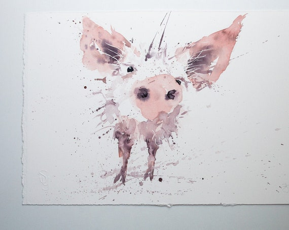 Pig Original Watercolour Painting Farm Animal Abstract Modern Piglet Water Colour Painting Wall Decor by Syman Kaye
