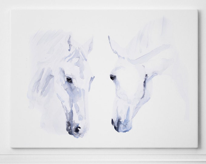 Horse Canvas Print - Hand signed Horse Wall Art - Watercolour Painting of my Original Abstract Horse Painting - Large 2 Horses heads