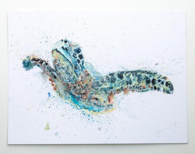 Turtle Original Watercolor Painting Watercolour Painting - Signed Original Watercolour Turtle Painting by Syman Kaye