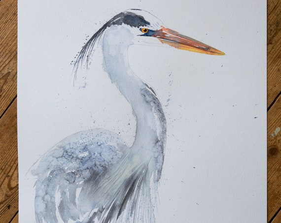 Heron Painting Original Watercolour Painting - Heron Bird Painting by Artist Syman Kaye - Unique Art