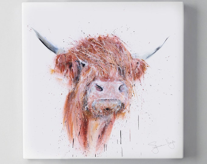 Graffiti Highland Cow Canvas Print - Hand signed Spray Painted Wall Art from the Original Street Art Abstract Highland Cow by Syman Kaye