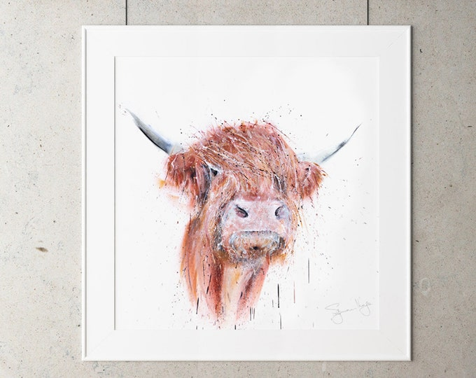 Street Art Highland Cow Graffiti Style Spray Painted brown & white Highland Cow Wall Art Cow Abstract Hand Signed Limited Edition Print