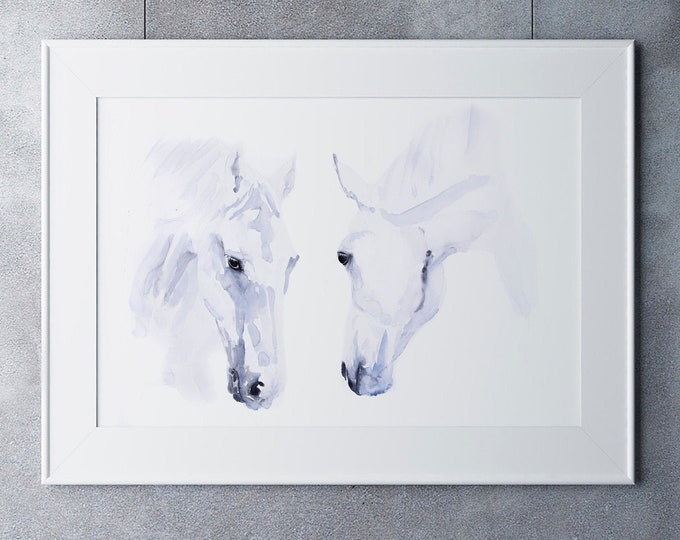 Horse Painting Watercolour Painting - Hand Signed, Dated, Numbered and Embossed Limited Edition Print of my Original Horse Painting