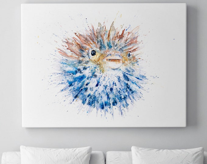 Pufferfish Canvas - Hand signed Abstract Canvas Print