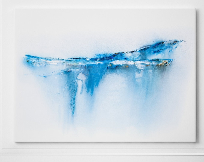 Abstract Landscape Canvas Print - Hand signed by Syman Kaye - Modern Abstract Seascape Watercolour of my Watercolor Landscape Painting