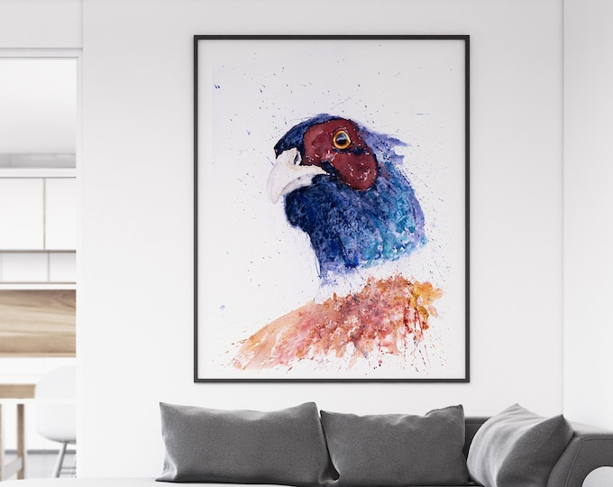 Pheasant Painting - Hand Signed Limited Edition Pheasant Print of My Original Watercolour Painting of a Pheasant