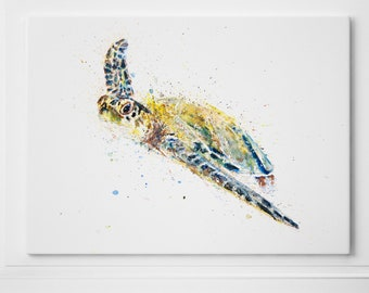 Sea Turtle Canvas Print Abstract Watercolour Painting Watercolour Wall Art Modern Painting Turtle Canvas Home Decor Print on Canvas by Syman