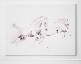 White Horse Print on Canvas Wall Art Horse Watercolour Watercolor Painting of my Original Abstract Horse Painting - Horse Modern Art