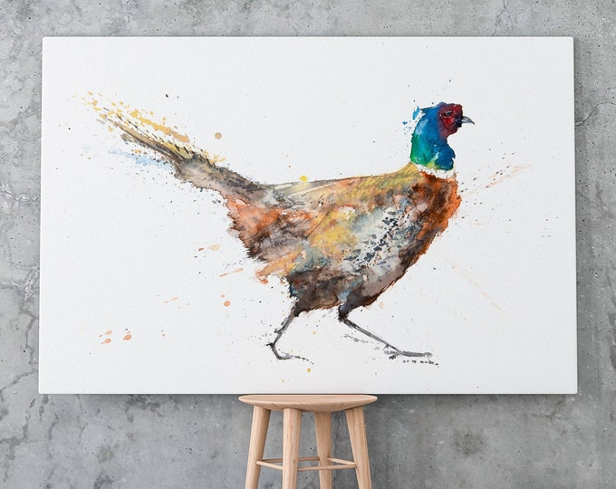 Pheasant Canvas print - Hand signed Abstract Canvas Print of original Watercolour Painting Watercolor Painting of Pheasant