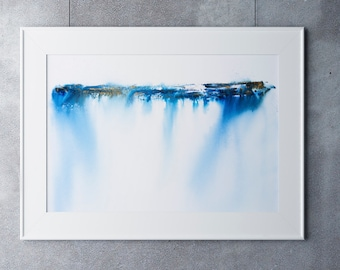 Abstract Seascape Landscape Print No7 - Abstract Painting - Hand Signed Numbered Embossed Limited Edition Print Modern Watercolour