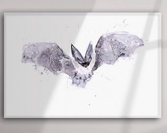 Bat Painting - Bat Watercolour Painting - Hand Signed Limited Edition Print of my Original Watercolour Painting of a Bat-  Bat Art
