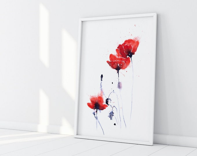 Featured listing image: Hand Signed Limited Edition Print of my Poppy Watercolour Painting - Poppy Group No.2