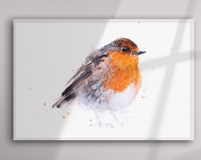 Robin Painting - Robin Watercolour Painting - Hand Signed Limited Edition Print of my Original Watercolour Painting of a Robin - Bird Art