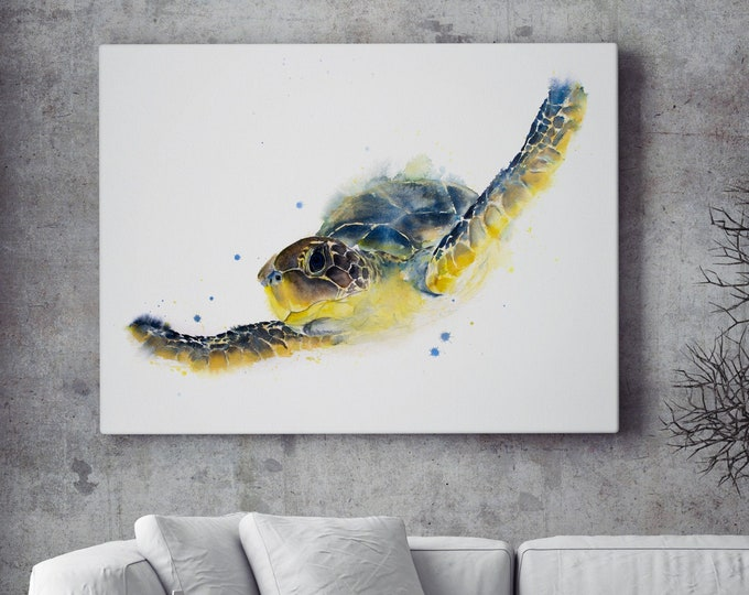 Sea Turtle Canvas Print - Hand Signed Abstract Watercolour Painting