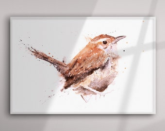 Wren Painting - Wren Watercolour Painting - Hand Signed Limited Edition Print of my Original Watercolour Painting of a Wren-  Bird Art