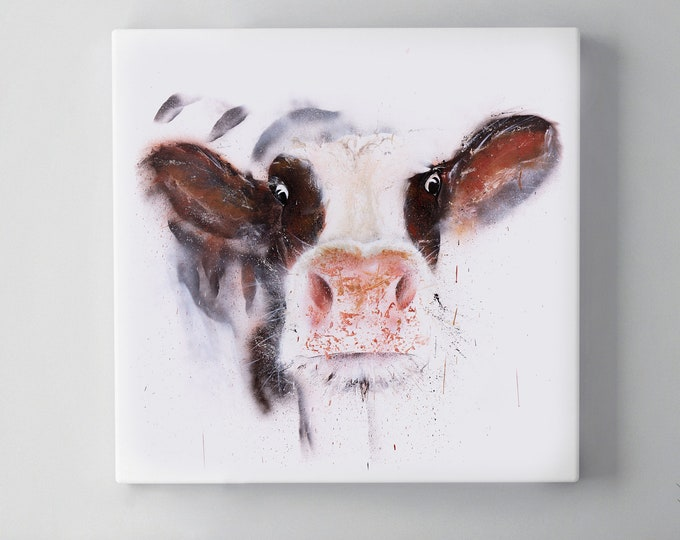 Graffiti Cow Canvas Print - Hand signed Spray Painted Wall Art Print from the Original Street Art Abstract Brown & White Cow by Syman Kaye