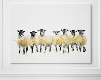 Sheep Canvas Print Abstract Watercolour Painting Watercolour Wall Art  - Modern Painting Sheep Canvas Home Decor Print on Canvas