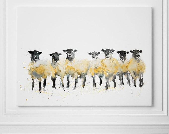 Sheep Canvas - Hand signed Abstract Canvas Print of original Watercolour Painting Row of Sheep