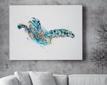 Turtle Canvas print - Hand Signed by Syman Kaye Living Room Art Turtle Watercolour Painting of my Original Abstract Art Turtle Painting