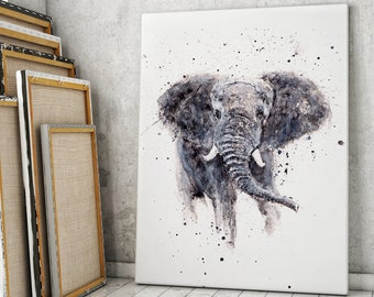 Elephant Canvas print - Hand signed by Syman Kaye - Elephant Wall Art Watercolour Painting of my Original Living Room Art Elephant Painting