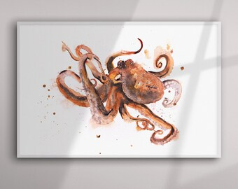 Octopus Painting Octopus Watercolour Painting Hand Signed Limited Edition Print of my Original Watercolour Painting of an Octopus Wall Art