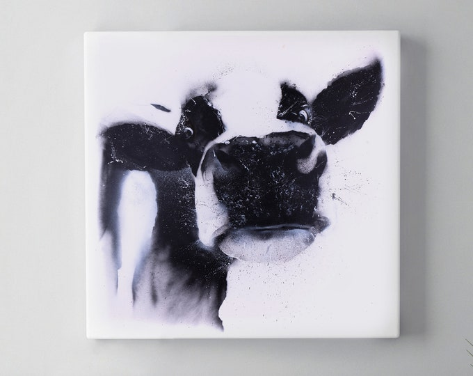 Graffiti Cow Canvas Print - Hand signed Spray Painted Wall Art Print from the Original Street Art Abstract Black & White Cow by Syman Kaye