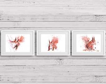 Squirrel Triple Print Hazel, Rusty Nuts & Squirrel No1 - Signed limited Edition Print of my Original Water Colour Paintings of Red Squirrels