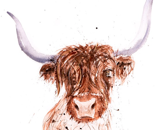 """Highland Cattle Painting Watercolour Painting  """"Highland 3"""" Signed Limited Edition Print of my Original Highland Cattle Watercolour Painting"""