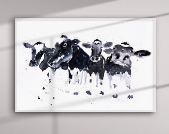 Cow Painting - Cow Watercolour Art - Hand Signed Limited Edition Print of my Original Watercolour Cow Painting.