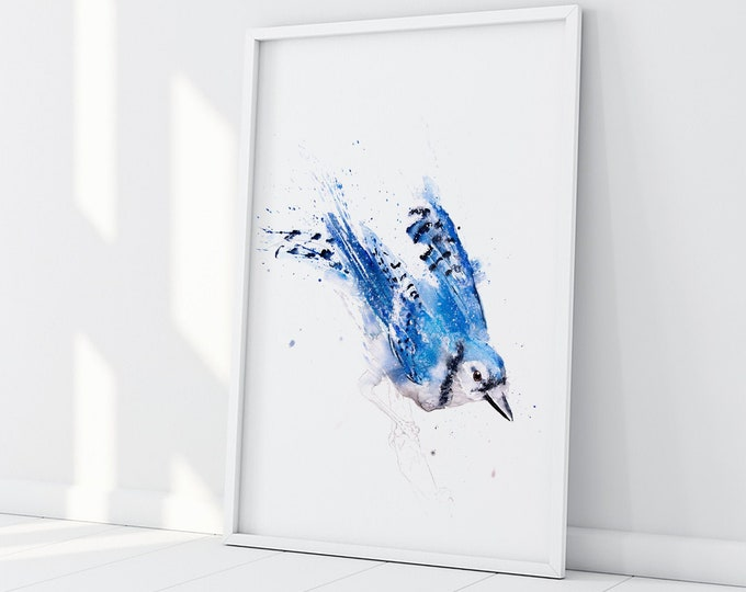 Blue Jay Painting - Blue Jay Art - Hand Signed, Numbered, Dated and Embossed Limited Edition Print of my Watercolour Painting of a Blue Jay