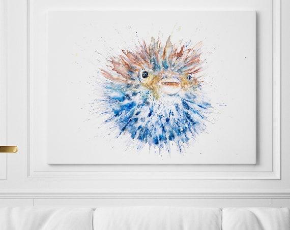 Canvas Puffa-Fish Abstract Wall Art Watercolour Painting Watercolor Painting Puffer Sea Fish Painting Wall Decor