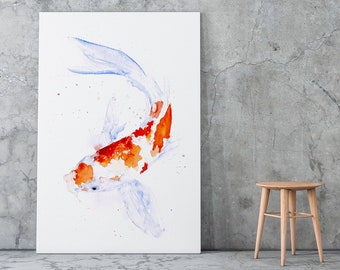 Koi Canvas Print - Hand Signed Canvas Wall Art from Watercolour Painting