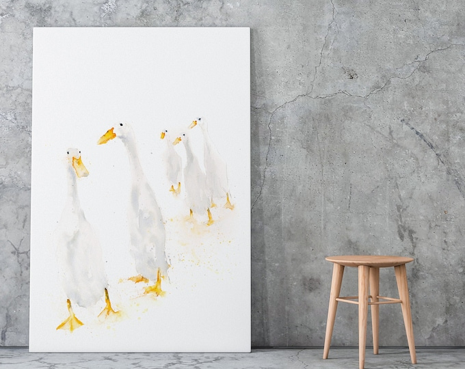 "Runner Ducks Canvas Print- Hand Signed - Modern Abstract Watercolour Print of my original painting ""Runner Ducks Standing"""